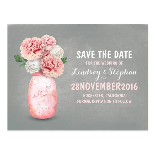 Painted mason jar and pink flowers save the date post cards