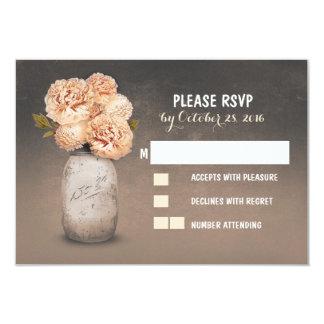"Painted mason jar cute wedding RSVP cards 3.5"" X 5"" Invitation Card"