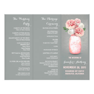 Painted mason jar pink grey wedding programs flyer