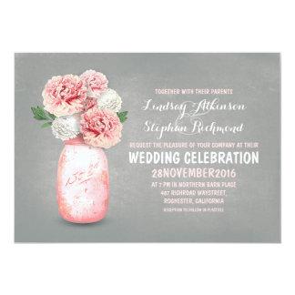 Painted mason jar rustic wedding invitations