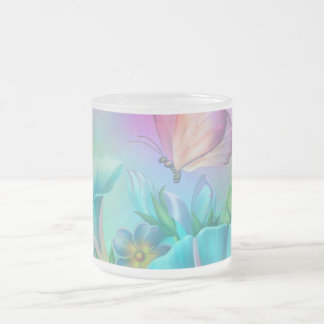 Painted Morning Glories Frosted Glass Mug