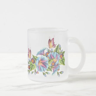 Painted Morning Glories 10 Oz Frosted Glass Coffee Mug