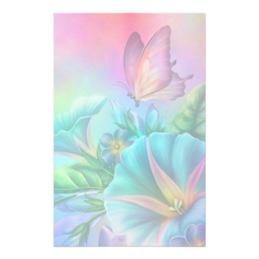 Painted Morning Glories Custom Stationery