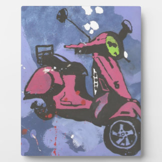Painted motorbike purple art plaque