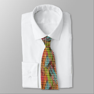 Painted Multicolor Abstract Gradient Black Dots Tie