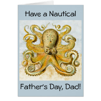 Painted Nautical Octopus Kraken Squid Father's Day Card