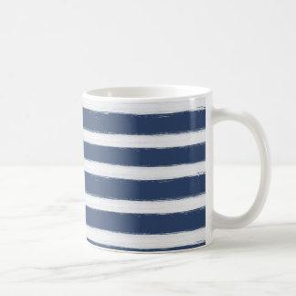 Painted Navy Blue and White Stripes Basic White Mug