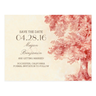 painted old tree vintage save the date postcards