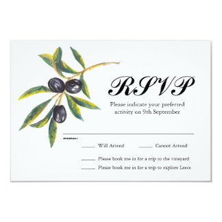 Painted Olive Branch Weddding RSVP Card