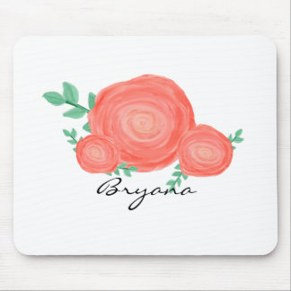 Painted Orange Floral Flowers Modern Mouse Pad