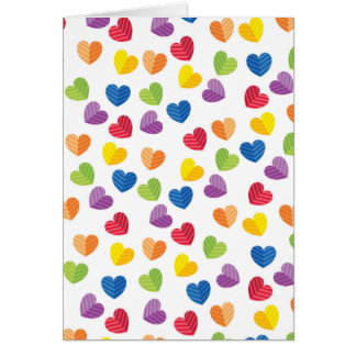 Painted Palette Rainbow Hearts Pattern Greeting Card