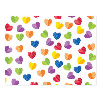 Painted Palette Rainbow Hearts Pattern Postcard