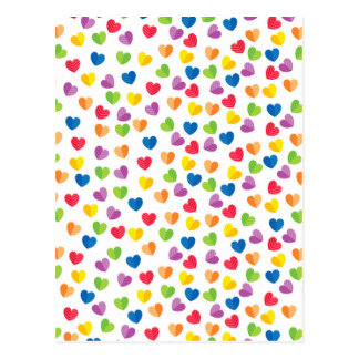 Painted Palette Rainbow Hearts Pattern Postcard