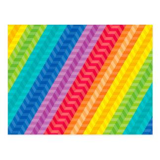 Painted Palette Rainbow Herringbone Pattern Postcard