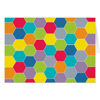Painted Palette Rainbow Hexagons Pattern Greeting Card