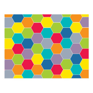 Painted Palette Rainbow Hexagons Pattern Postcard