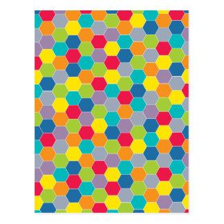 Painted Palette Rainbow Hexagons Pattern Postcard