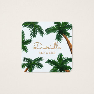 Painted Palm Trees Square Business Card