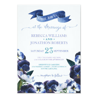 Painted Pansies 13 Cm X 18 Cm Invitation Card