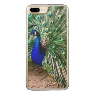 painted peacock carved iPhone 8 plus/7 plus case