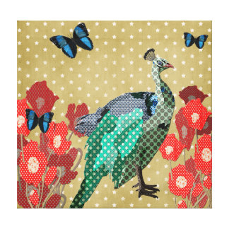 Painted Peacock & Peonies Gold Canvas Canvas Print