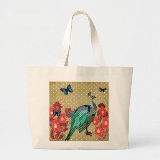 Painted Peacock & Peonies Golden Star Bag