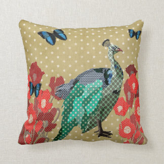 Painted Peacock Peonies Golden Stars Mojo Pillo Pillow