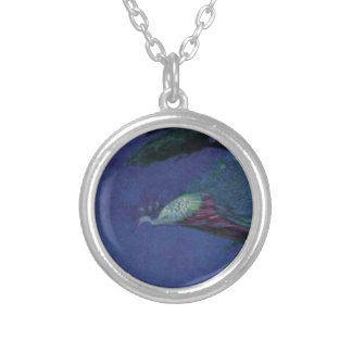 Painted Peacock Silver Plated Necklace