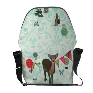 Painted Pink Floral Fawn Balloon Race  Messenger B Commuter Bags