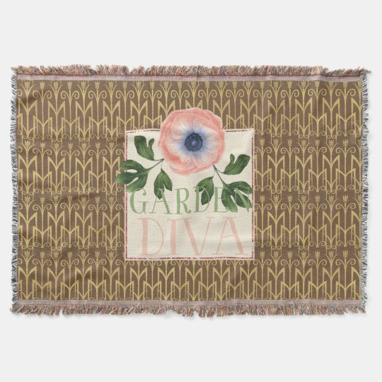 Painted Pink Poppy and Art Deco Tulips Throw Blanket
