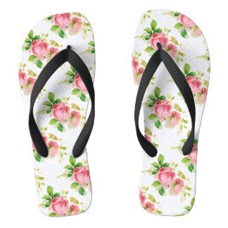 Painted Pink Roses in Vintage style Flip Flops