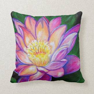 Painted Pink Water Lily Cushion