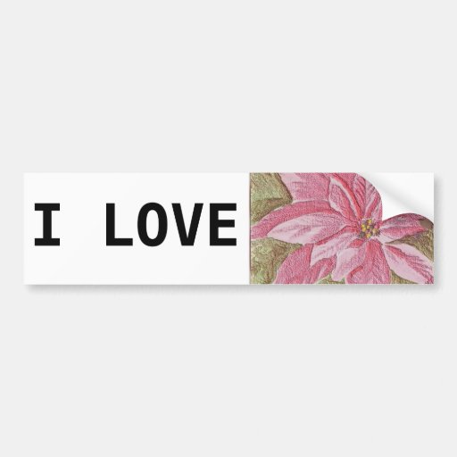 Painted Poinsettia Christmas Flower Bumper Sticker