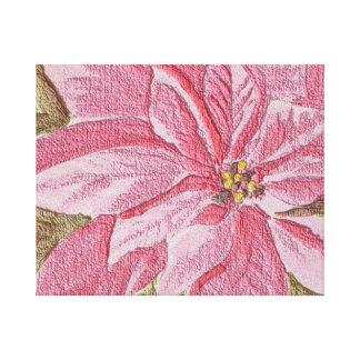 Painted Poinsettia Christmas Flower Canvas Print