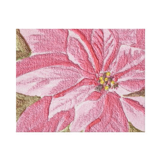 Painted Poinsettia Christmas Flower Stretched Canvas Prints