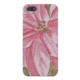 Painted Poinsettia Christmas Flower iPhone 5/5S Case