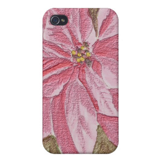 Painted Poinsettia Christmas Flower iPhone 4 Cover