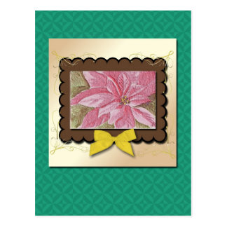 Painted Poinsettia Christmas Flower Post Cards
