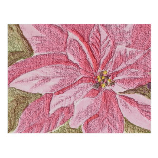 Painted Poinsettia Christmas Flower Postcard