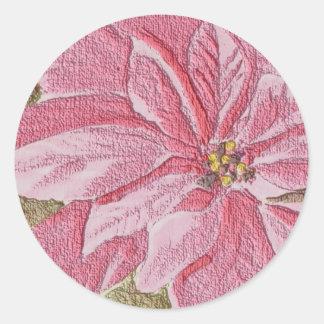 Painted Poinsettia Christmas Flower Sticker