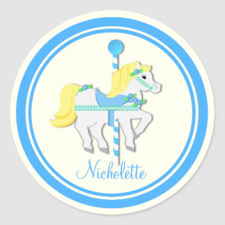 Painted Pony Blue and Yellow Carousel Round Sticker