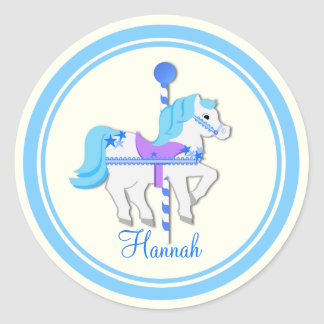 Painted Pony Blue Stars Carousel Round Sticker