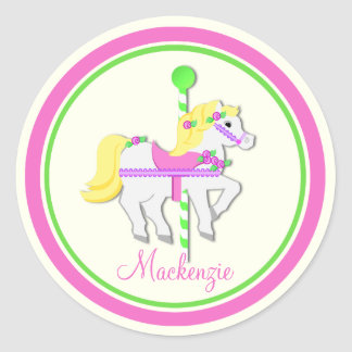 Painted Pony Pink and Green Carousel Classic Round Sticker