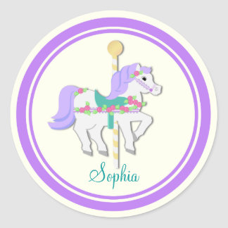 Painted Pony Purple and Roses Carousel Classic Round Sticker