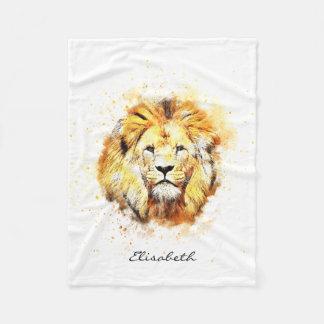 Painted portrait of lion fleece blanket
