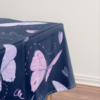 Painted purple Butterflies on night background Tablecloth