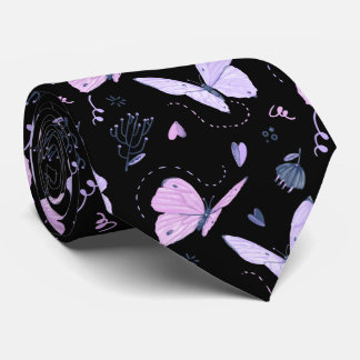 Painted purple Butterflies on night background Tie