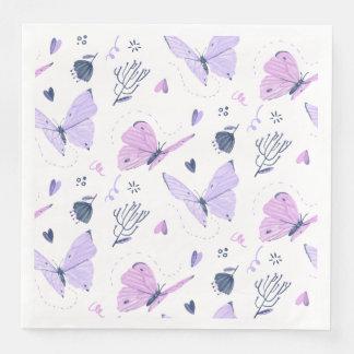 Painted purple Butterflies on white nature Disposable Serviette