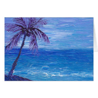 Painted purple palm on a blue beach cards