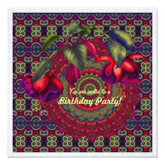 Painted Purple & Red Fuchsias 13 Cm X 13 Cm Square Invitation Card